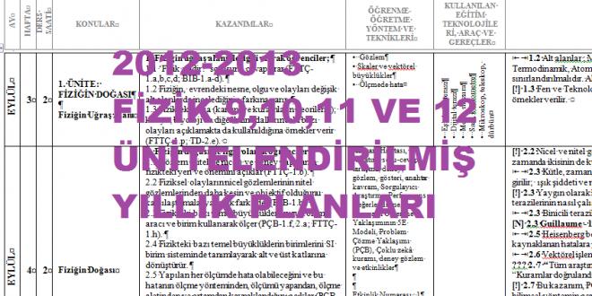 2012-2013 Fizik Dersi Ünitelendirilmiş Yıllık Planlar 9-10-11-12