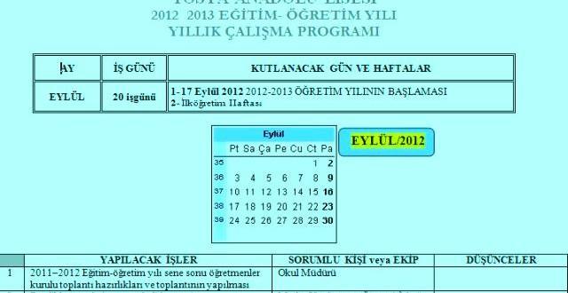 2012-2013 İdareci Yıllık Çalışma Planı