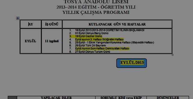 2013-2014 İdareci Yıllık Çalışma Planı