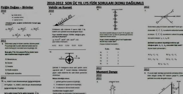 Konu Dağılımlı Son 3 Yıl LYS Fizik Soruları (2010-2012)