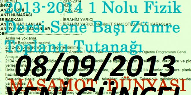 2013-2014 1 Nolu Fizik Dersi Sene Başı Zümre Toplantı Tutanağı (YENİ)