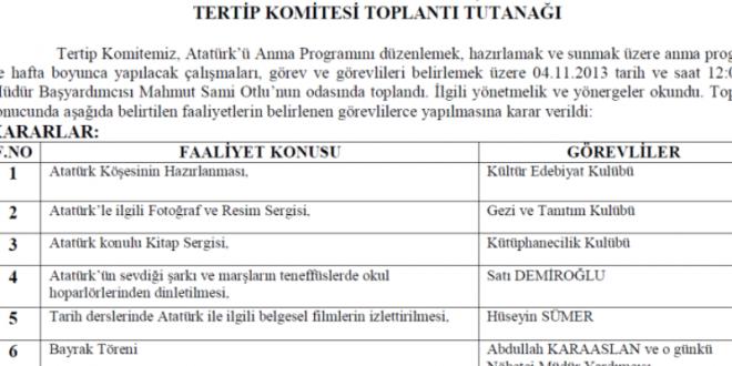 Atatürk'ü Anma Haftası Tertip Komitesi Toplantı Tutanağı 2013-2014