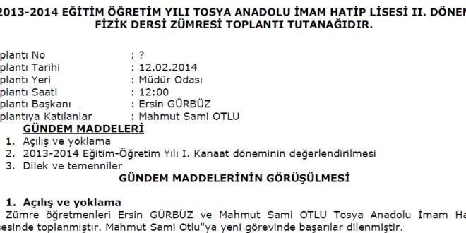 2013-2014 2 Dönem Fizik Dersi Zümresi