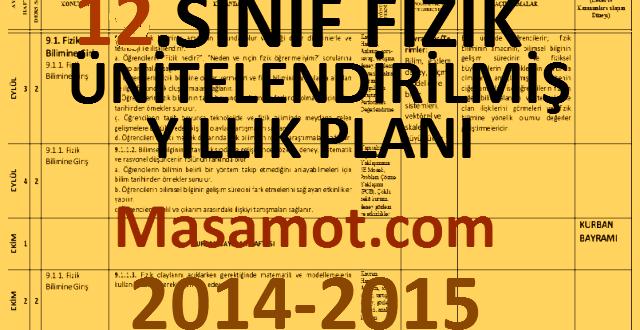 2014-2015 12. Sınıf Fizik Dersi Ünitelendirilmiş Yıllık Planları