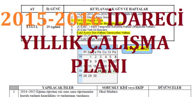 2015-2016 İdareci Yıllık Çalışma Planı (Ortaöğretim için)