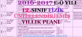 2016-2017 12. Sınıf Fizik Dersi Ünitelendirilmiş Yıllık Planı
