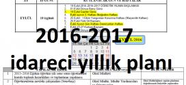 2016-2017 İdareci Yıllık Çalışma Planı (Ortaöğretim için)