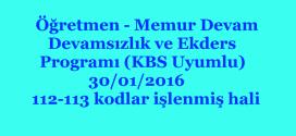 Öğretmen – Memur Devam Devamsızlık ve Ekders Programı (KBS Uyumlu) 30/01/2016