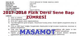 2017-2018 Öğretim Yılı Fizik Dersi Sene Başı Zümresi
