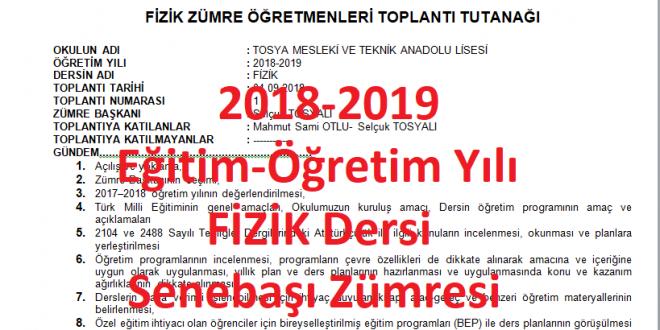 2018-2019 Öğretim Yılı Fizik Dersi Sene Başı Zümresi