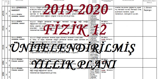 2019-2020 12. Sınıf Fizik Dersi Ünitelendirilmiş Yıllık Planı