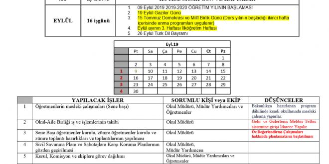 2019-2020 İdareci Yıllık Çalışma Planı (Ortaöğretim için)