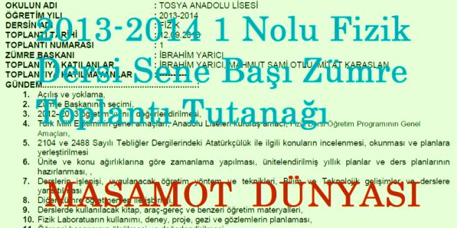 2013-2014 1 Nolu Fizik Dersi Sene Başı Zümre Toplantı Tutanağı