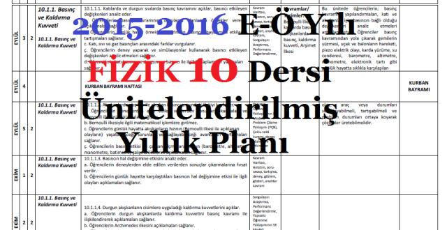 2015-2016 10. Sınıf Fizik Dersi Ünitelendirilmiş Yıllık Planı