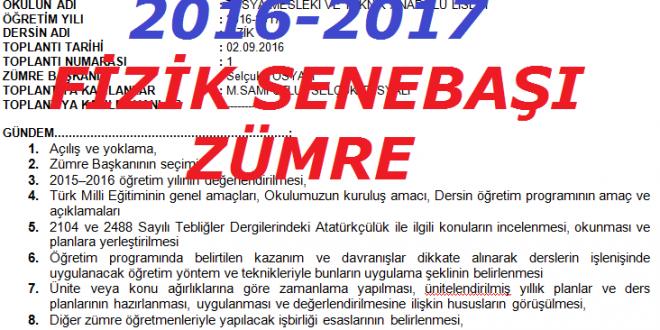 2016-2017 Öğretim Yılı Fizik Dersi Sene Başı Zümresi