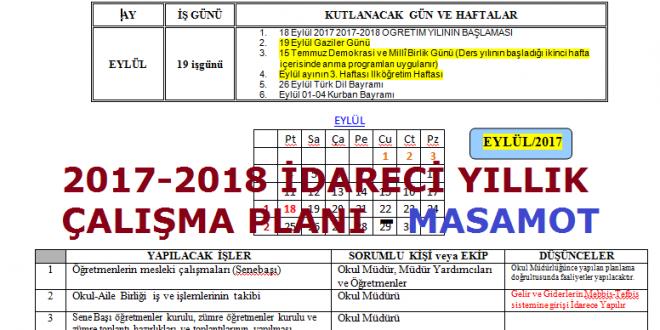 2017-2018 İdareci Yıllık Çalışma Planı (Ortaöğretim için)