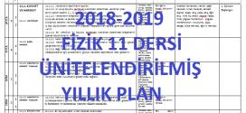 2018-2019 11. Sınıf Fizik Dersi Ünitelendirilmiş Yıllık Planı