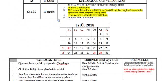 2018-2019 İdareci Yıllık Çalışma Planı (Ortaöğretim için)