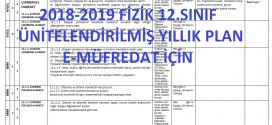 2018-2019 12. Sınıf Fizik Dersi Ünitelendirilmiş Yıllık Planı