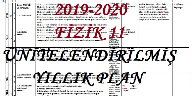 2019-2020 11. Sınıf Fizik Dersi Ünitelendirilmiş Yıllık Planı