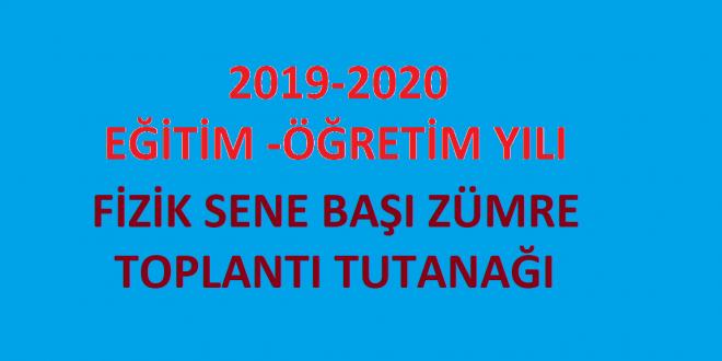 2019-2020 Öğretim Yılı Fizik Dersi Sene Başı Zümresi