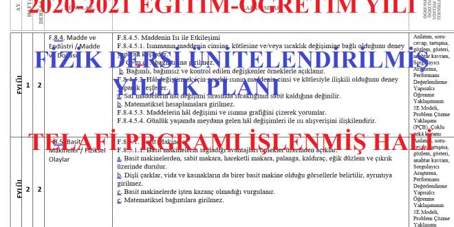 2020-2021 9. Sınıf Fizik Dersi Ünitelendirilmiş Yıllık Planı (Telafi Programı İşlenmiş)